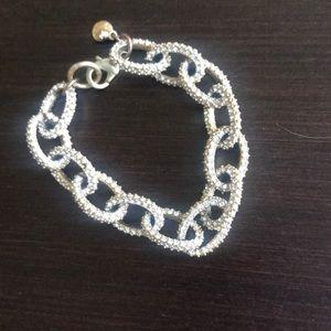 JCrew gold tone medium link sparkly bracelet